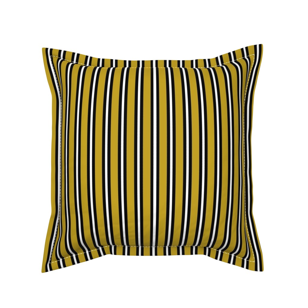 Serama Throw Pillow featuring Medium Black and White Stripes on Olive by kerri_lisa_