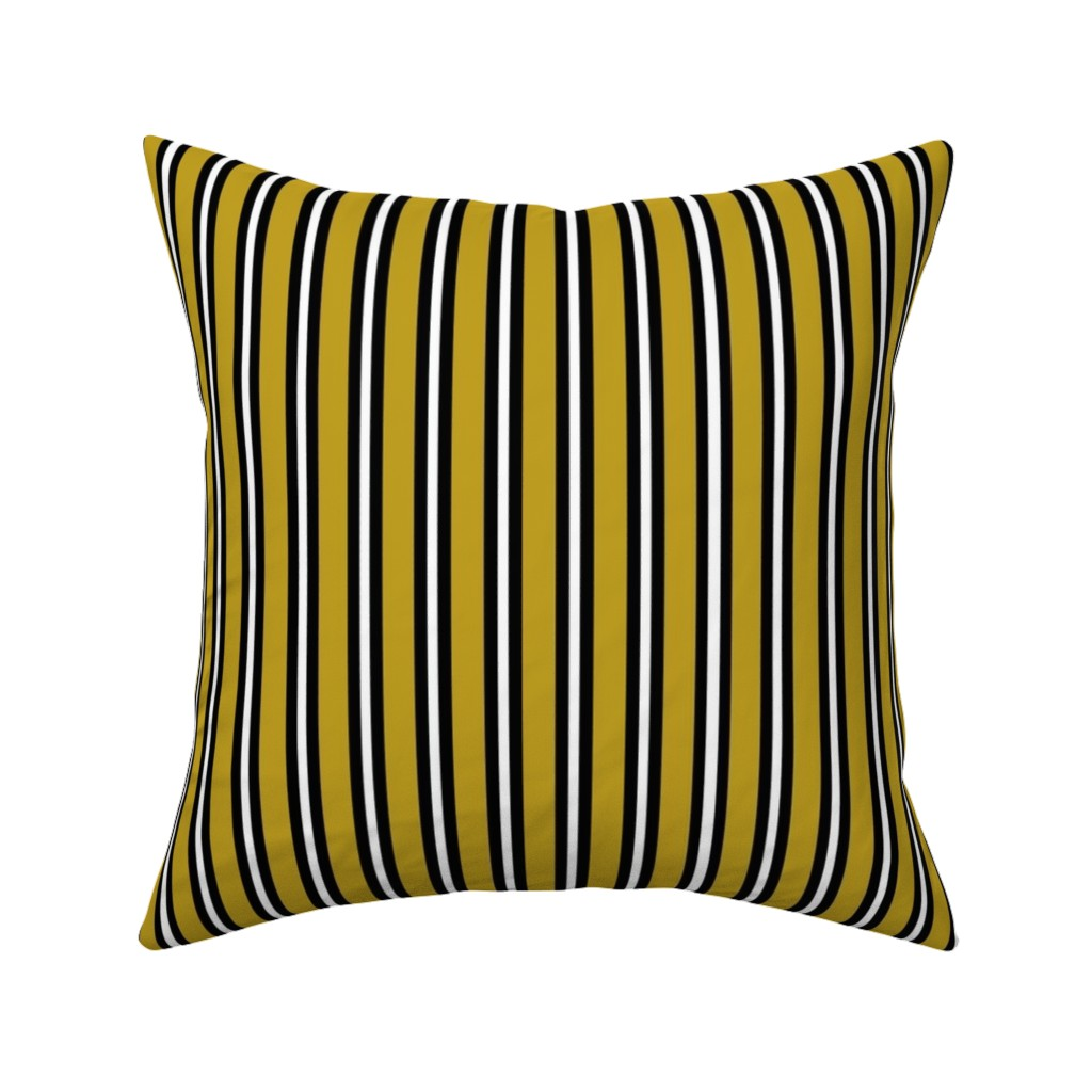 Catalan Throw Pillow featuring Medium Black and White Stripes on Olive by kerri_lisa_