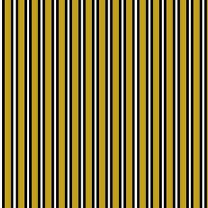 Medium Black and White Stripes on Olive