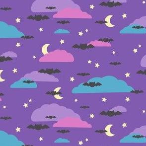CatBat Silhouettes on Purple