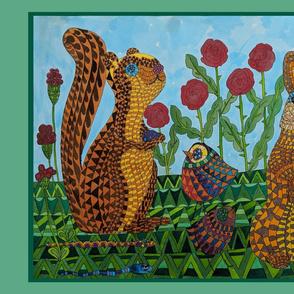 Rabbit, Squirrel and Birds