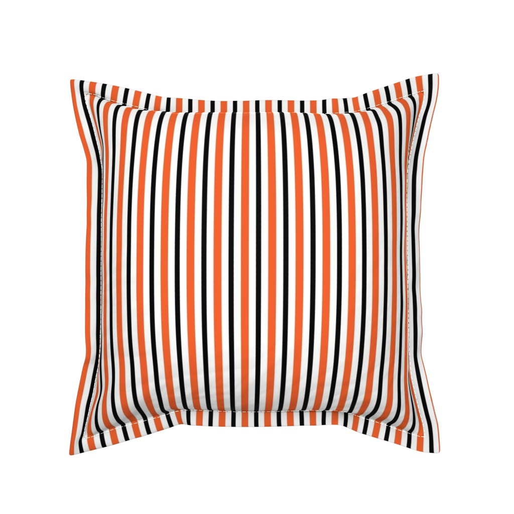 Serama Throw Pillow featuring Medium Halloween Stripes by kerri_lisa_