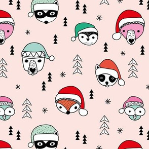 Cool scandinavian geometric woodland santa animals christmas holiday winter girls pink mint
