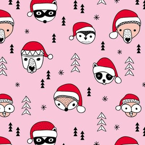 Cool scandinavian geometric woodland santa animals christmas holiday pink red