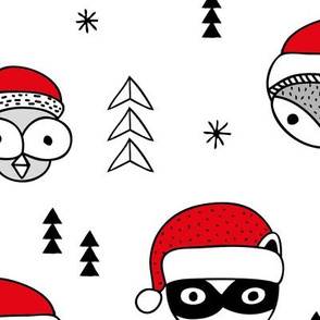 Cool scandinavian geometric woodland santa animals christmas holiday winter black and white red JUMBO