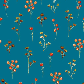 Watercolor Floral Filler Blue
