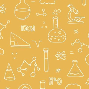 Cool back to school science physics and math class student illustration laboratorium ochre yellow fall neutral