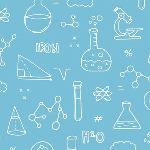 Cool back to school science physics and math class student illustration laboratorium white blue boys