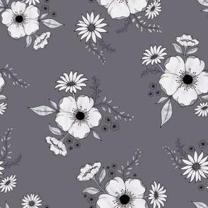 Nostalgia Floral - mauvegrey