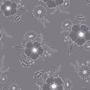 Nostalgia Floral Solid - mauvegrey