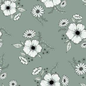 Nostalgia Floral - dustygreen