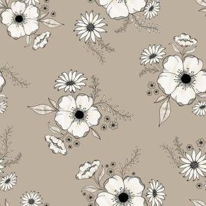 Nostalgia Floral - warmtaupe