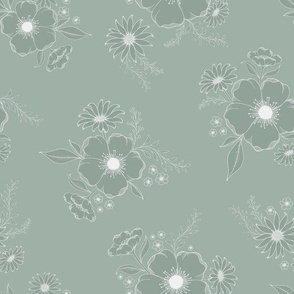 Nostalgia Floral Solid - dusty green