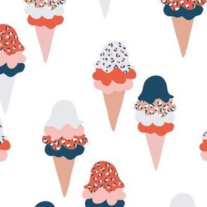 Animal print ice cream cones summer leopard panther trend design navy blue marine red neutral
