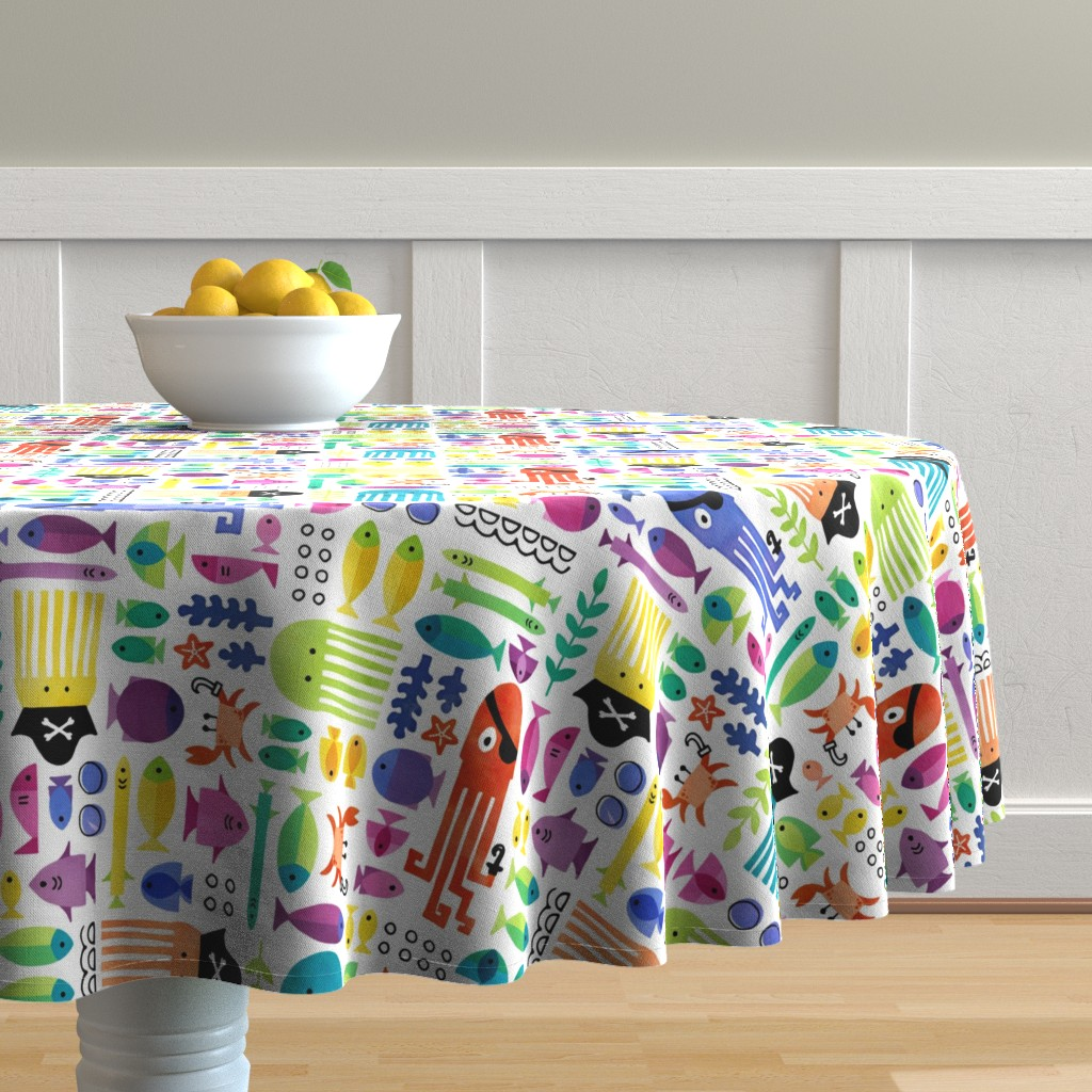 Malay Round Tablecloth featuring Pirate Fish by adenaj