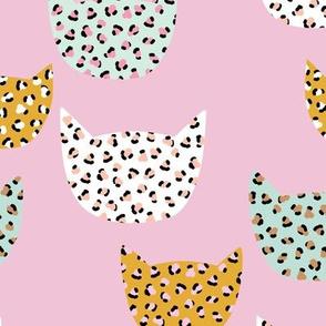 Wild cats leopard print kawaii design animal print panther trend pink mint ochre girls LARGE