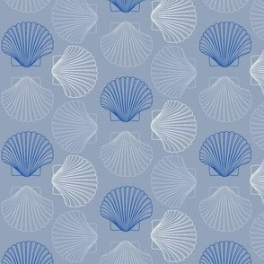 Seashells Blue White Gray