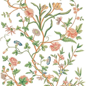 Tree of Life Chintz Reproduction ~  Bright on White