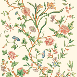 Tree of Life Chintz Reproduction ~  Bright on Cosmic Latte