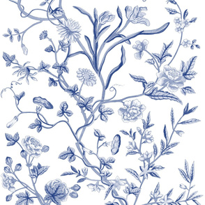 Tree of Life Chintz Reproduction ~ Willow Ware Blue and White