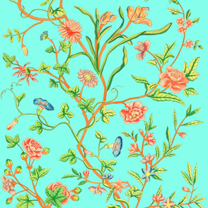 Tree of Life Chintz Reproduction ~ Very Bright on Slipper