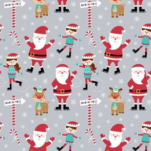 tiny ice skaters grey :: cheeky christmas Santa Claus with candy canes, animals, baby, children, boys, girls, winter, snowflakes, north pole, ice rink - cute pjs pyjamas pajamas pattern