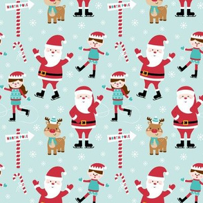 tiny ice skaters light teal :: cheeky christmas Santa Claus with candy canes, animals, baby, children, boys, girls, winter, snowflakes, north pole, ice rink - cute pjs pyjamas pajamas pattern