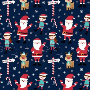 tiny ice skaters navy blue :: cheeky christmas Santa Claus with candy canes, animals, baby, children, boys, girls, winter, snowflakes, north pole, ice rink - cute pjs pyjamas pajamas pattern