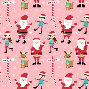 tiny ice skaters pink :: cheeky christmas Santa Claus with candy canes, animals, baby, children, boys, girls, winter, snowflakes, north pole, ice rink - cute pjs pyjamas pajamas pattern