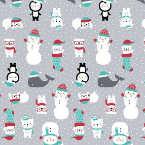 tiny snow cuties grey :: cheeky christmas baby animals seals, stockings, bears, whales, penguins, snowpeople, winter hats, scarves, mittens and glasses for children, boys, girls, snowy dots - cute pjs pyjamas pajamas pattern