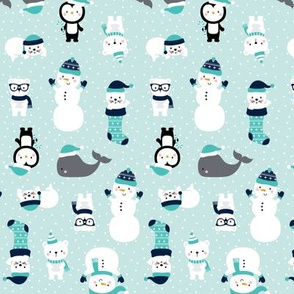 tiny snow cuties light teal :: cheeky christmas baby animals seals, stockings, bears, whales, penguins, snowpeople, winter hats, scarves, mittens and glasses for children, boys, girls, snowy dots - cute pjs pyjamas pajamas pattern