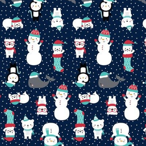 tiny snow cuties navy blue :: cheeky christmas baby animals seals, stockings, bears, whales, penguins, snowpeople, winter hats, scarves, mittens and glasses for children, boys, girls, snowy dots - cute pjs pyjamas pajamas pattern