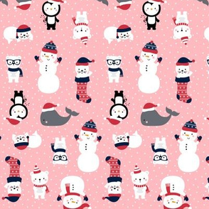 tiny snow cuties pink :: cheeky christmas baby animals seals, stockings, bears, whales, penguins, snowpeople, winter hats, scarves, mittens and glasses for children, boys, girls, snowy dots - cute pjs pyjamas pajamas pattern