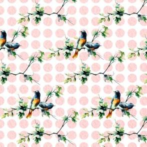 Bluebirds on Pink Dots
