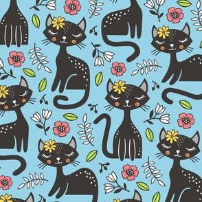 Black Cats & Flowers on Light Blue