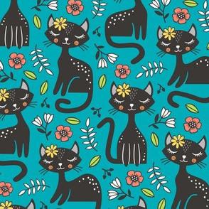 Black Cats & Flowers on Dark Blue