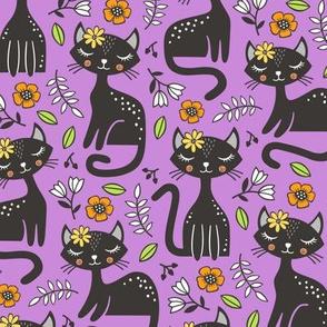 Black Cats & Flowers on Purple