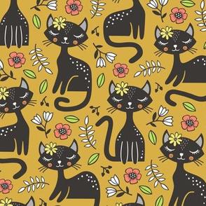Black Cats & Flowers on Mustard Yellow
