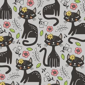 Black Cats & Flowers on Light Grey