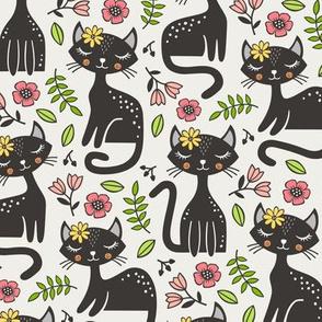 Black Cats & Flowers on Cloud Grey
