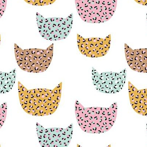 Wild cats leopard print kawaii design animal print panther trend pink mint ochre yellow on white