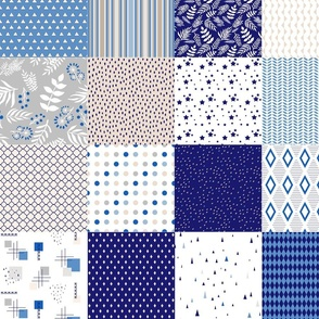 charm pack blue beige cheater quilt boy blanket faux patchwork