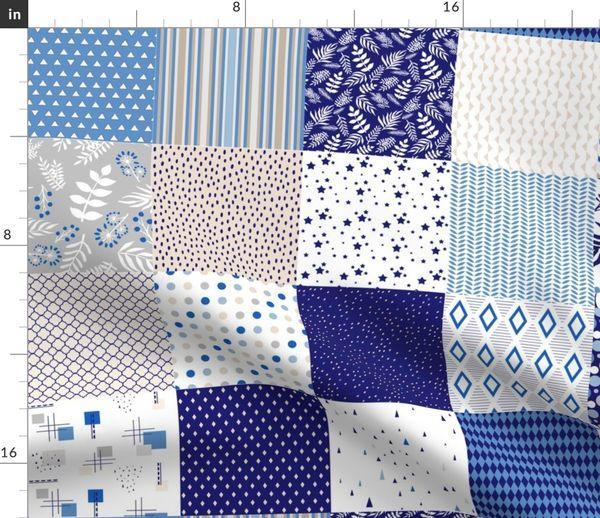 Teal Green Fabric Pack quilting patchwork charm dog cat bird pug rabbit blue