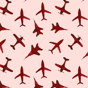 Cranberry airplanes on coral • watercolor