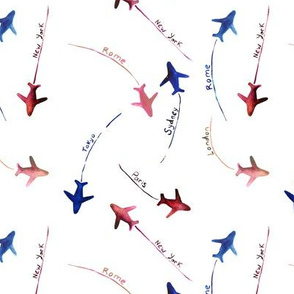 around the world • blue, cranberry, coral • watercolor airplanes pattern