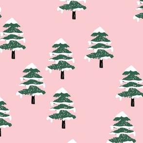 Woodland forest adventures snow winter wonderlands Christmas trees pine trees woods pink emerald