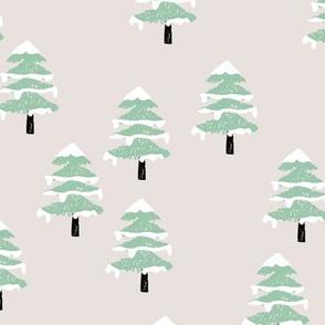 Woodland forest adventures snow winter wonderlands Christmas trees pine trees woods beige mint green neutral
