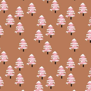 Woodland forest adventures snow winter wonderlands Christmas trees pine trees woods pink terra cotta copper SMALL