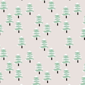 Woodland forest adventures snow winter wonderlands Christmas trees pine trees woods beige mint green neutral SMALL
