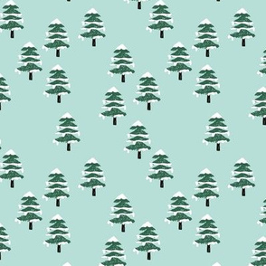 Woodland forest adventures snow winter wonderlands Christmas trees pine trees woods mint green SMALL